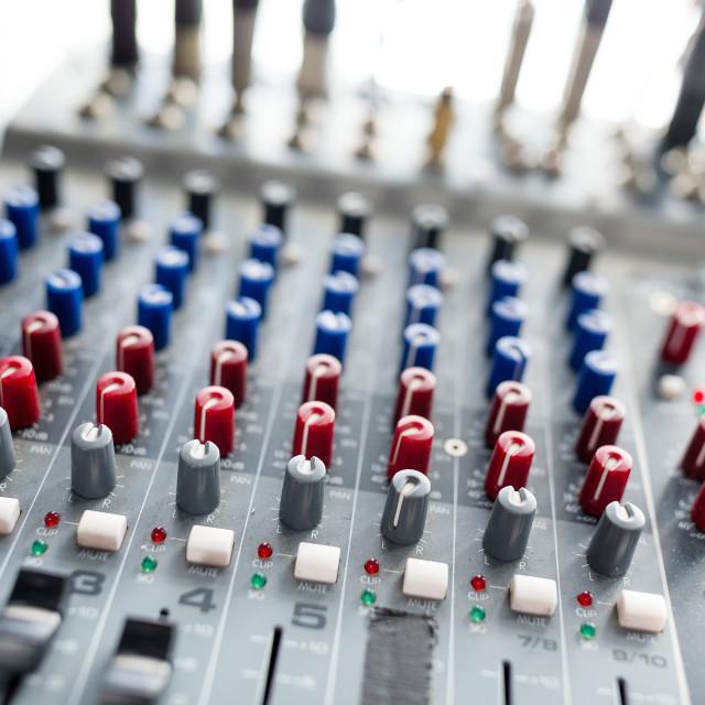 """Equalizer volume on Audio mixer"" stock image"