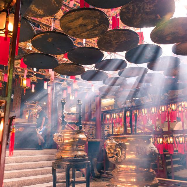 """""""Central, Hong Kong, 10 May 2017 -: Interior lanterns of the Man Mo Temple in..."""" stock image"""