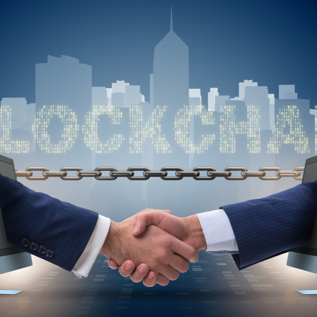 """""""Concept of blockchain in modern business"""" stock image"""