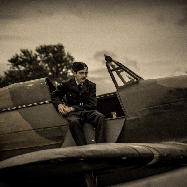 """""""RAF pilot waits for the go"""" stock image"""