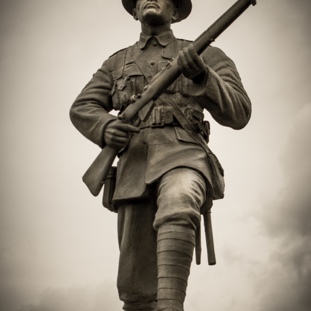 """""""Statue of Soldier during WW1"""" stock image"""