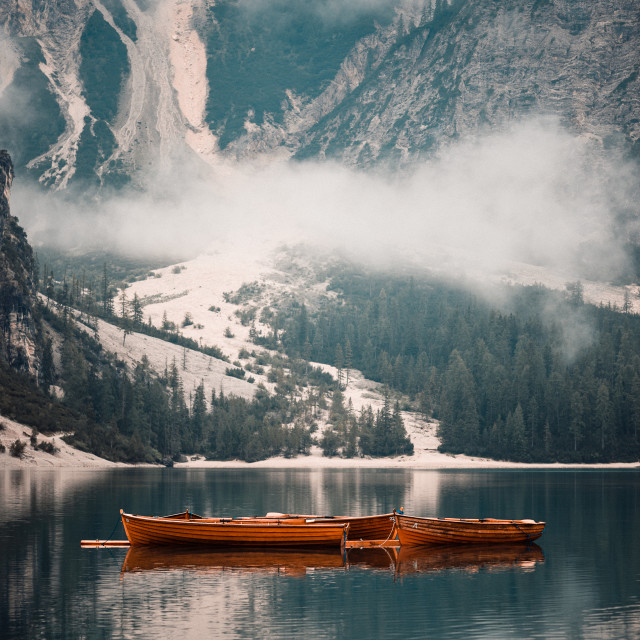 """Boats at Lago di Braies"" stock image"