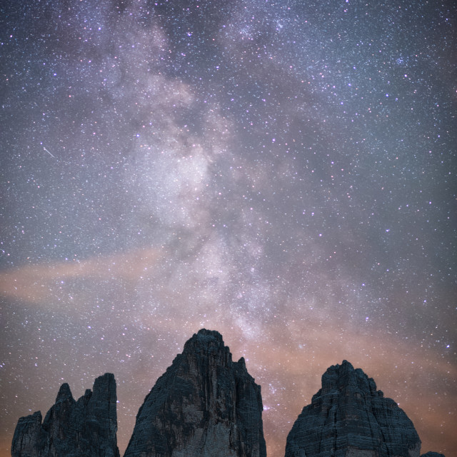 """Milkyway over the Three Peaks"" stock image"