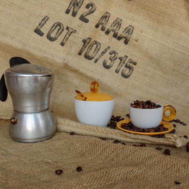 """Italian moka and coffee beans into cup"" stock image"