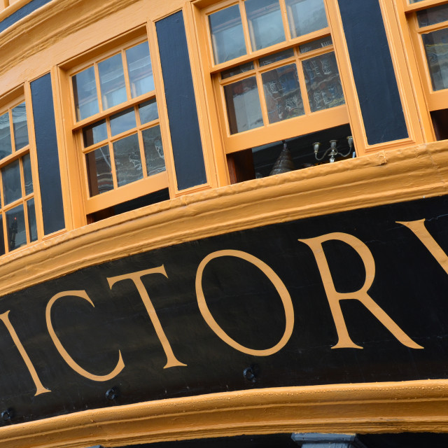 """HMS Victory stern of ship."" stock image"