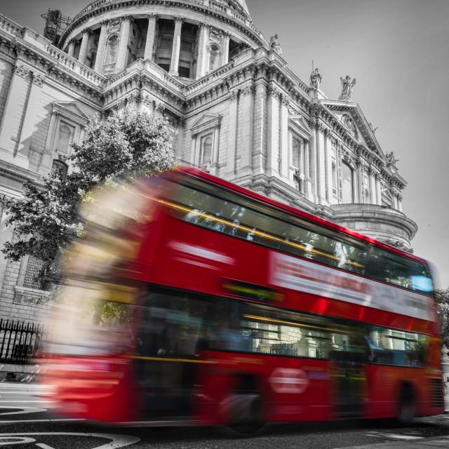 """""""St Paul's Bus Blur"""" stock image"""
