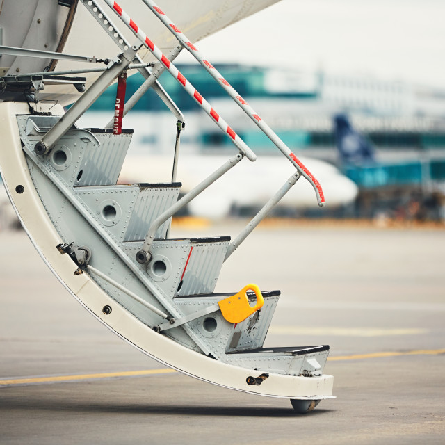 """Steps to the plane"" stock image"