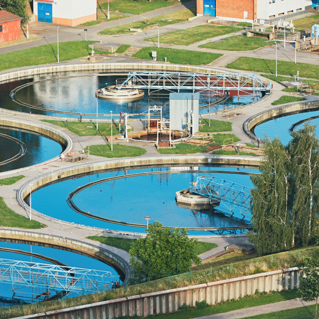 """Water recycling in large sewage treatment plant."" stock image"