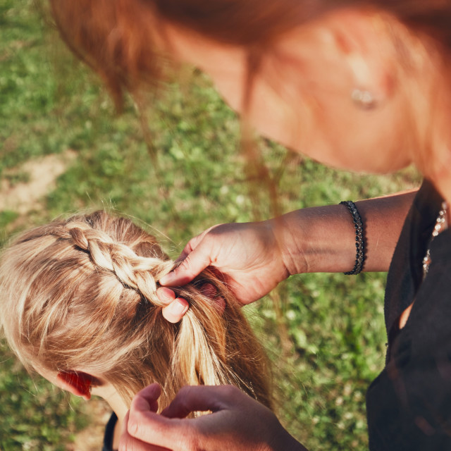 """""""Girl with hair braids"""" stock image"""
