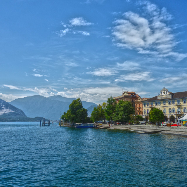 """The lakeside at Verbania Pallanza, Lago Maggiore, Italy. Looking west towards the Swiss border/alps."" stock image"