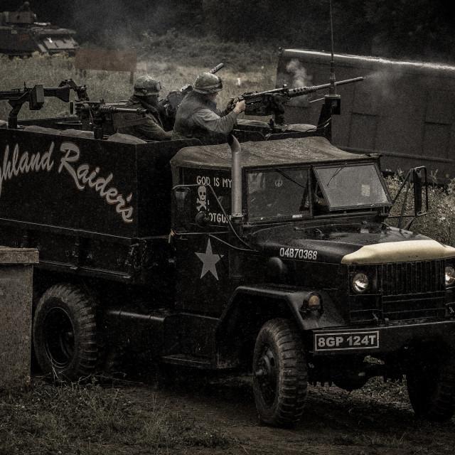 """American truck mounted machine guns"" stock image"