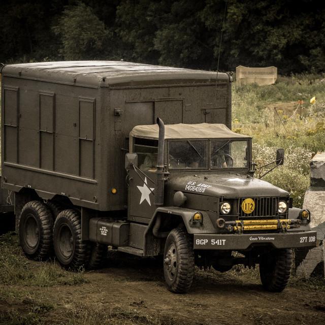 """American troop carrier truck"" stock image"