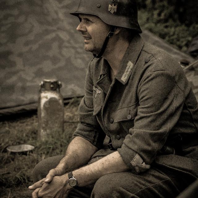 """""""German Soldier taking a break"""" stock image"""