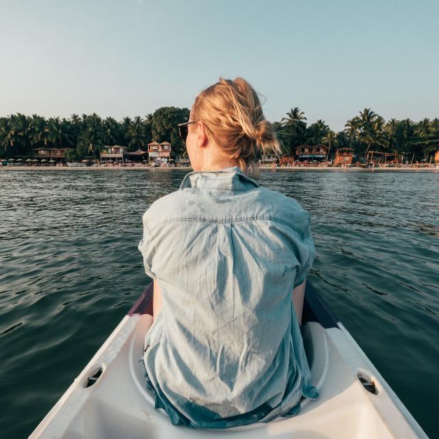 """""""Girl on Canoe"""" stock image"""
