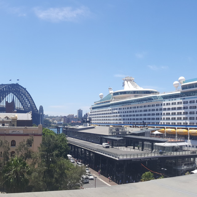 """Cruise Liner @ Sydney Harbour Bridge? Panoramic"" stock image"