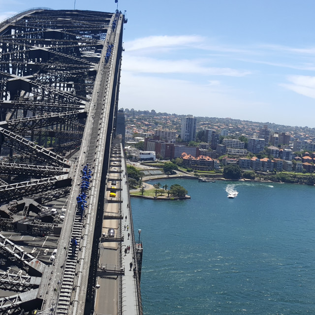 """On top of Sydney Harbour Bridge"" stock image"