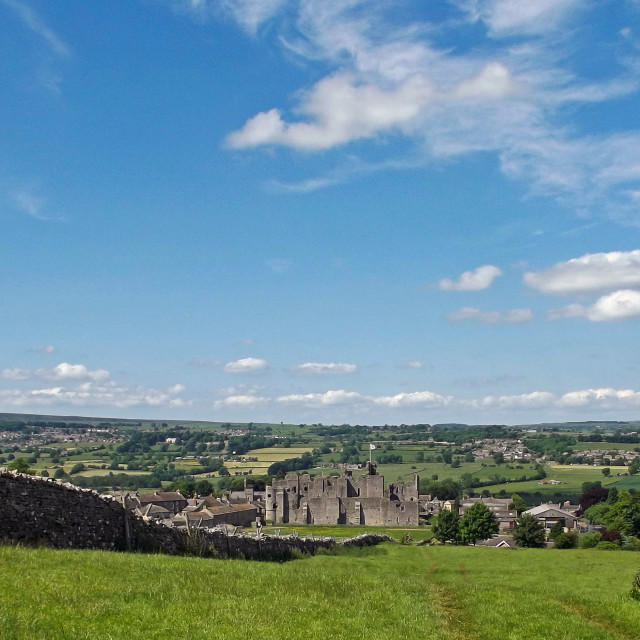 """Overlooking Middleham Castle"" stock image"