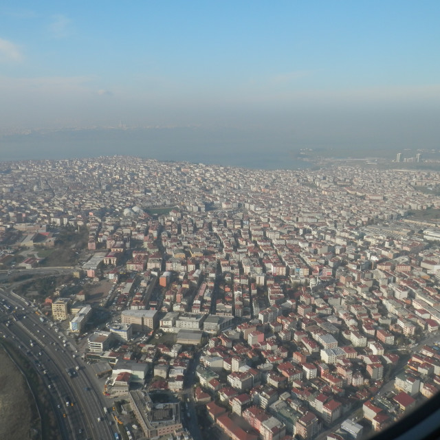"""Urban City View from Plane"" stock image"