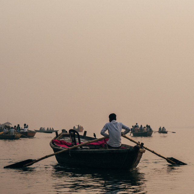 """Sunrise along the Ganges, Varanasi."" stock image"