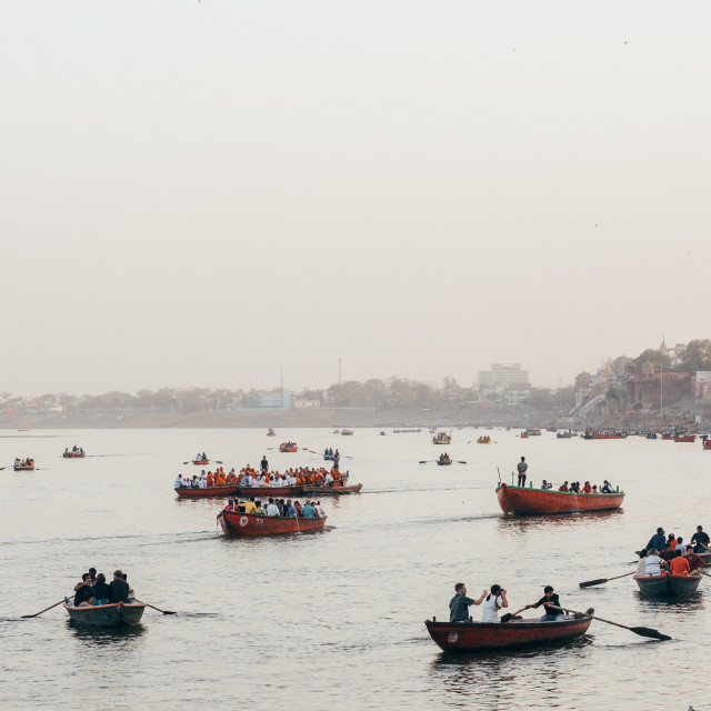 """""""Sunrise along the Ganges, Varanasi"""" stock image"""
