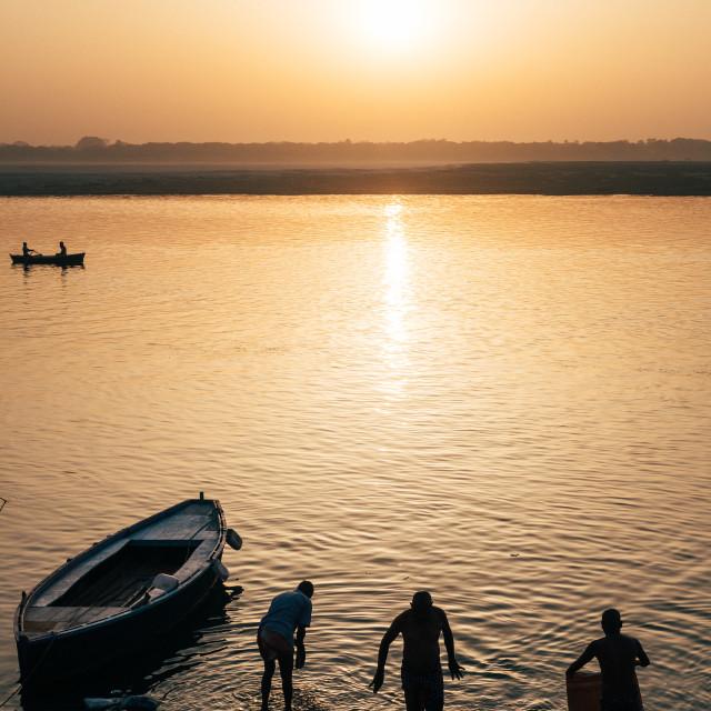"""Bathing in the Ganges, Varanasi"" stock image"