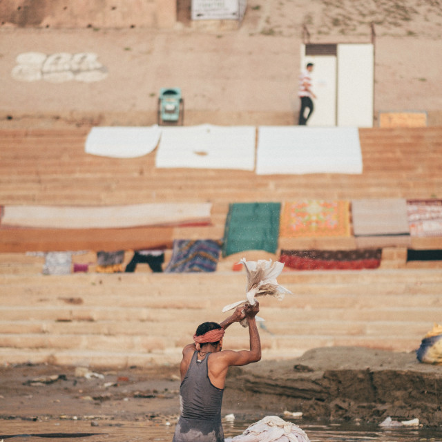 """Washing clothes in the Ganges, Varanasi"" stock image"