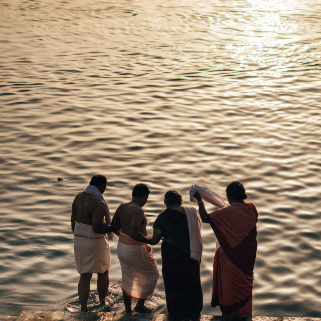 """Bathing in the Ganges, Varanasi"" stock image"