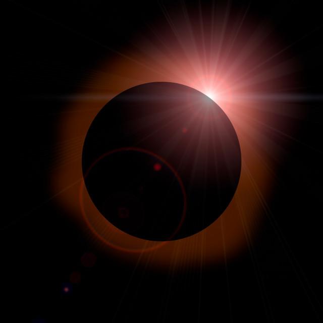 """Solar Eclipse on Dark Sky"" stock image"