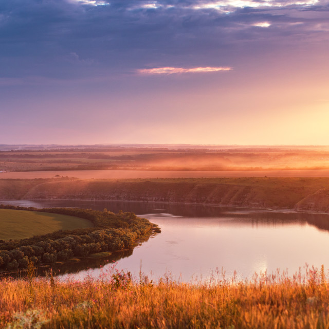 """""""Summer river panorama. Panoramic view of the river bend in canyon at sunset."""" stock image"""