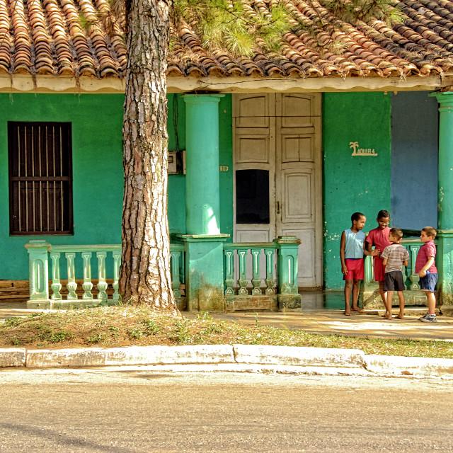 """Kids in Viñales, Cuba"" stock image"