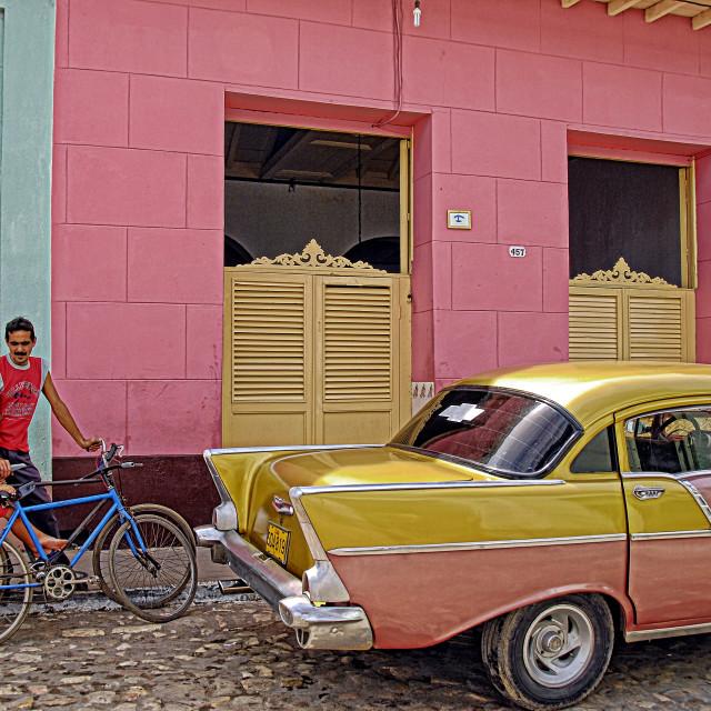 """""""Pink car pink house; Trinidad, Cuba"""" stock image"""