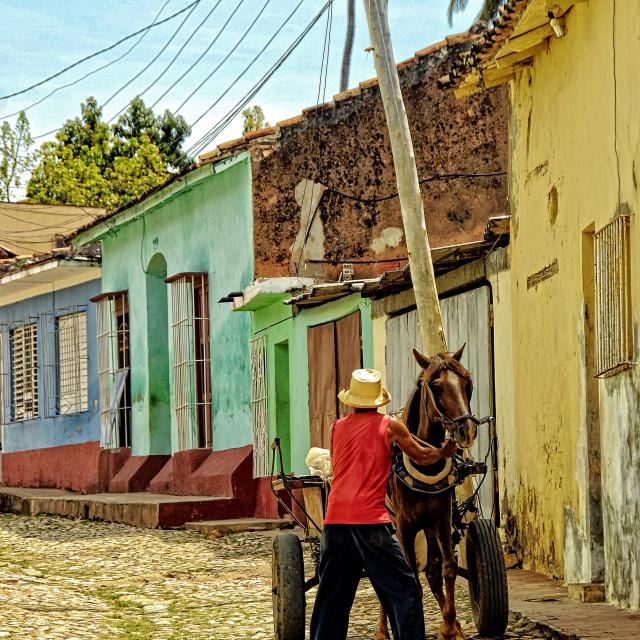 """Trinidad street scene; Cuba"" stock image"