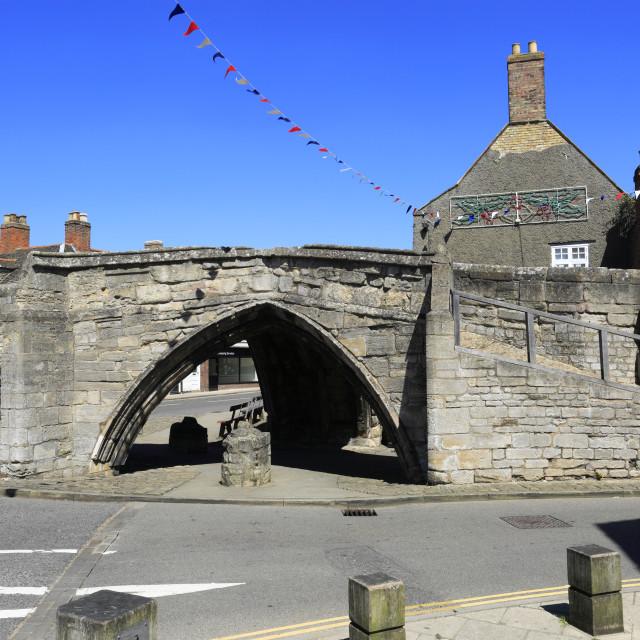 """The Trinity Bridge, a 14th Century three-way stone arch bridge, Crowland..."" stock image"