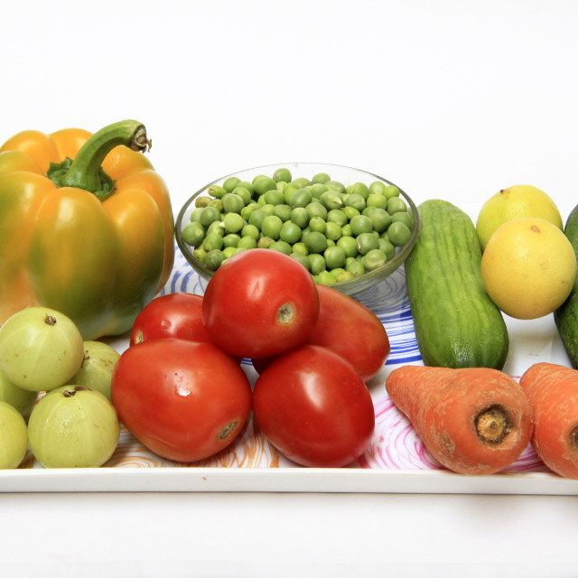 """""""Tray of Colorful Vegetables"""" stock image"""