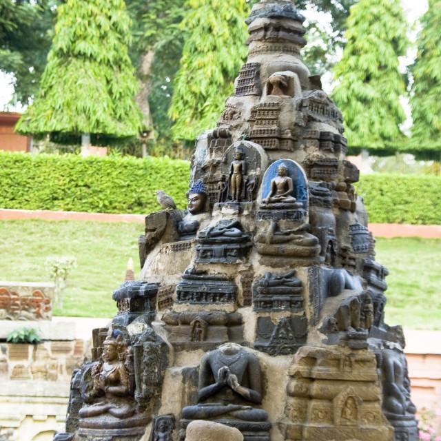 """Sculptural Panel at Mahabodhi"" stock image"