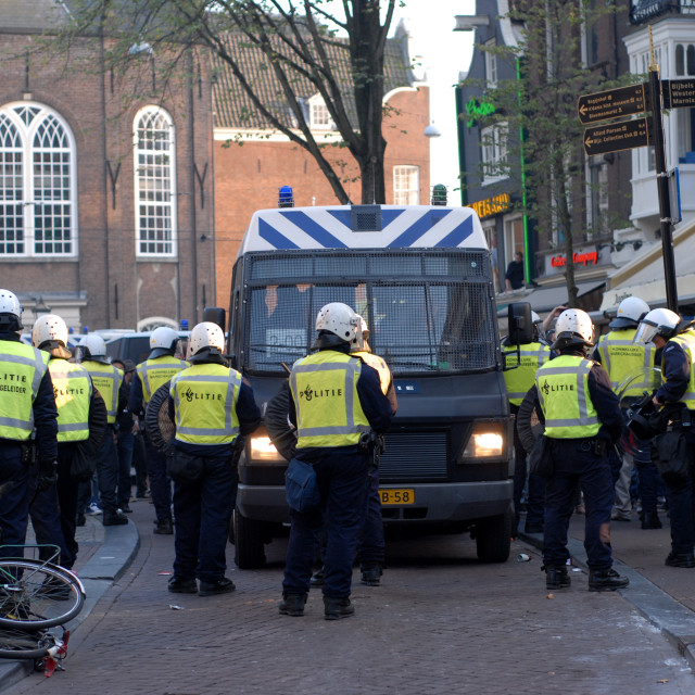 """""""Squatters demonstration broken up by police - Amsterdam"""" stock image"""