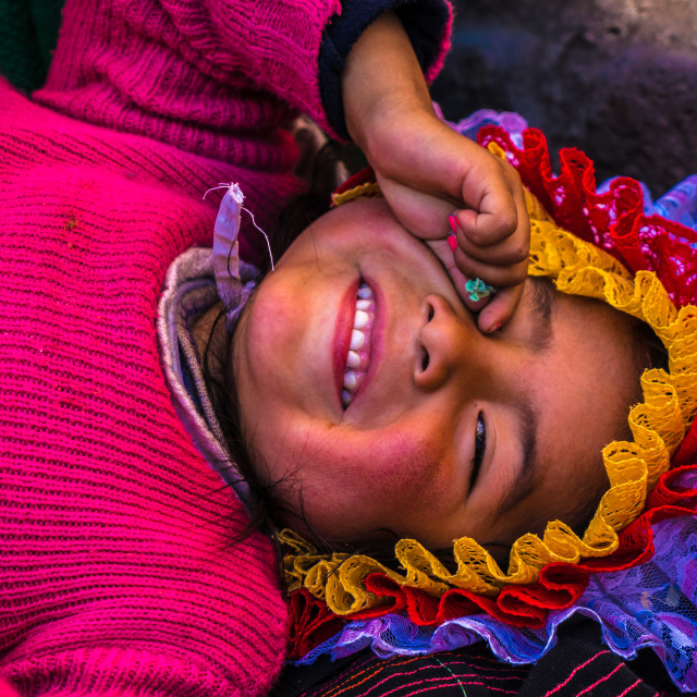 """Andean indigenous child in traditional inca customs in Cusco, Peru"" stock image"