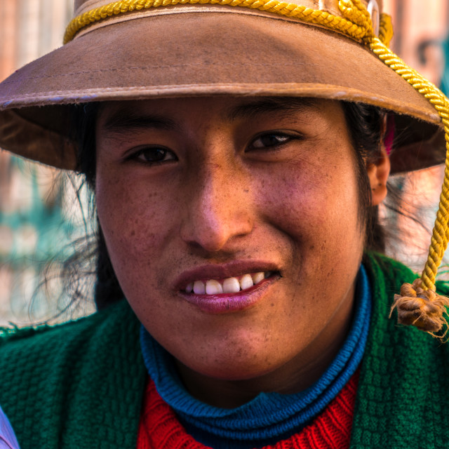 """Andean indigenous woman in traditional inca customs, Cusco, Peru"" stock image"