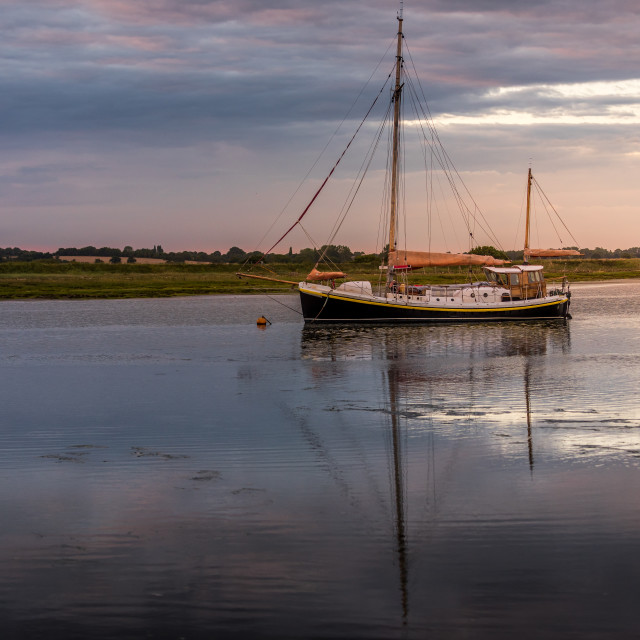 """Moored Yacht at Landermere Quay"" stock image"