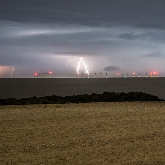 """Lightning Off Clacton Beach"" stock image"