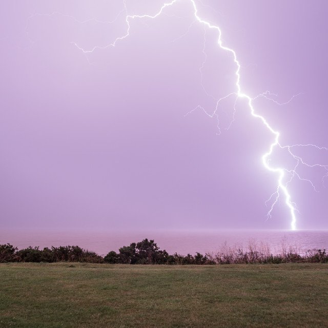 """Lightning Strike At Frinton On Sea"" stock image"