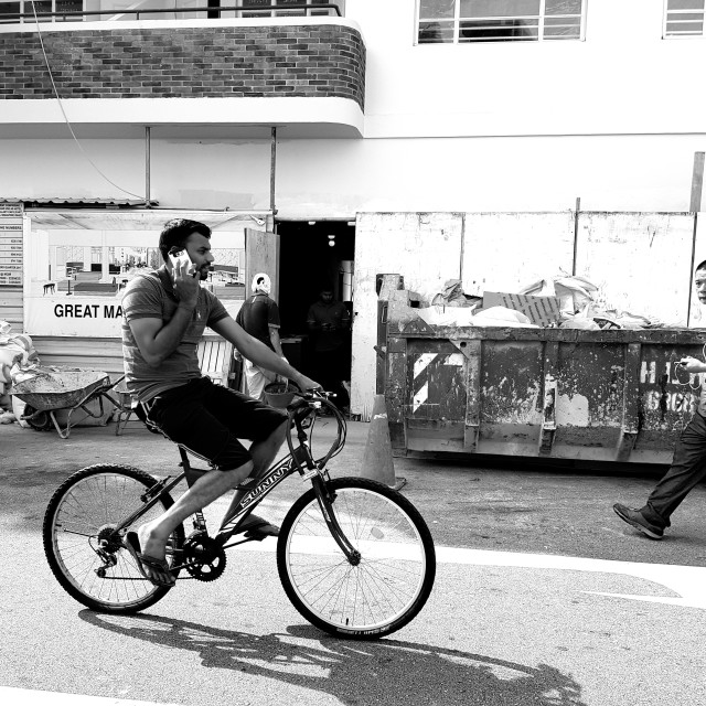"""Cycling @ Little India"" stock image"