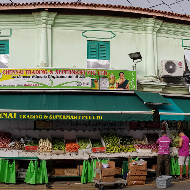 """Morning Market Scene in Little India"" stock image"