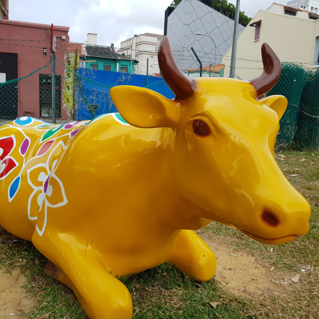 """A sculpture of a cow resting in a field in Little India"" stock image"
