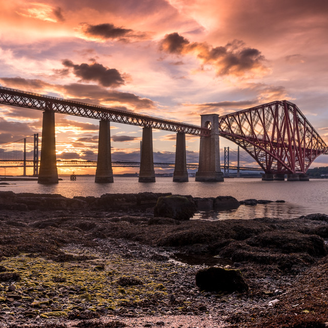 """Forth Rail Bridge at Sunset"" stock image"