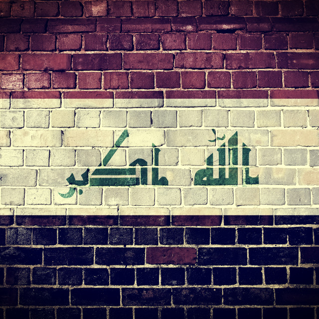 """Grunge Iraq flag on a brick wall"" stock image"