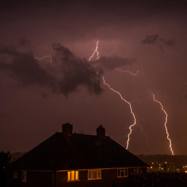"""""""Lightning over Berkhamsted"""" stock image"""