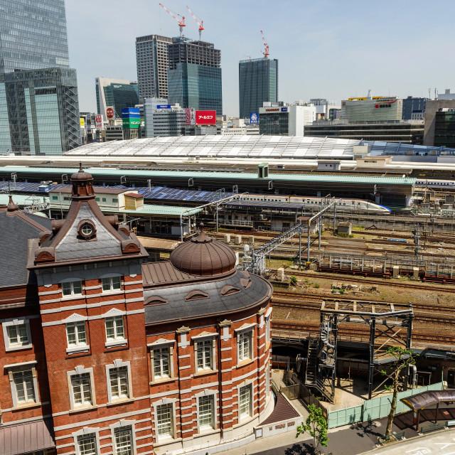 """Tokyo station and JR bullet train or Shinkansen"" stock image"