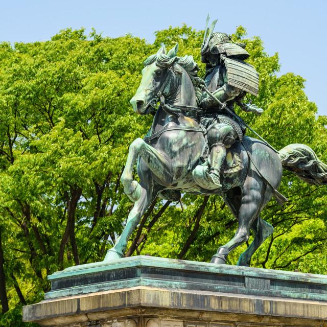 """great samurai Kusunoki Masashige statue, Tokyo"" stock image"