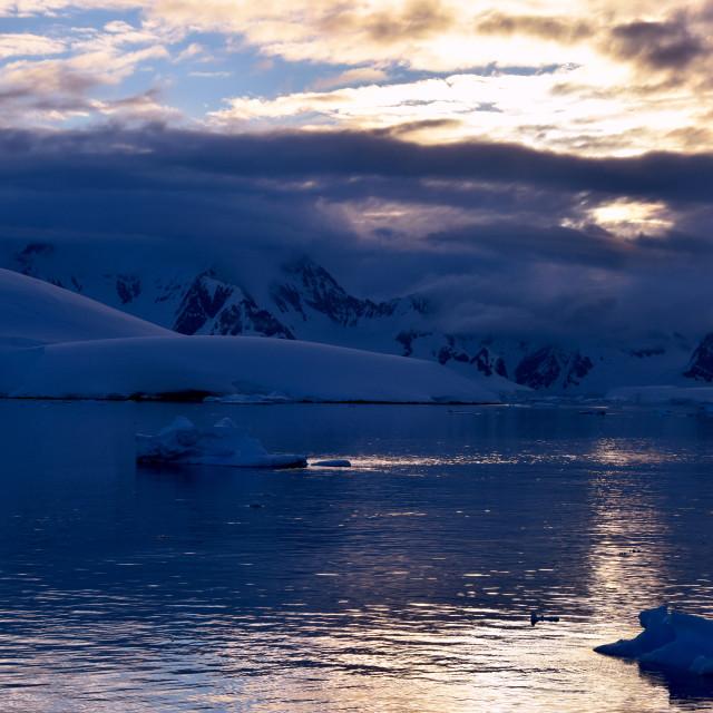 """Antarctica sunset"" stock image"